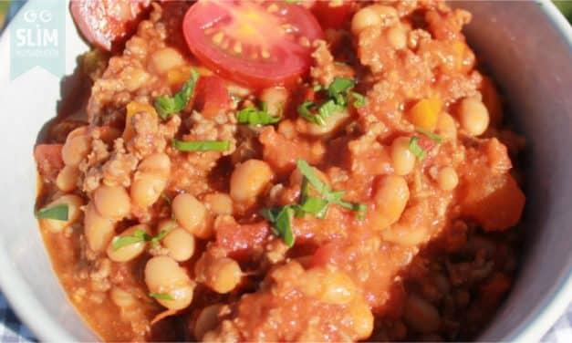Chili con carne met chorizo en witte bonen