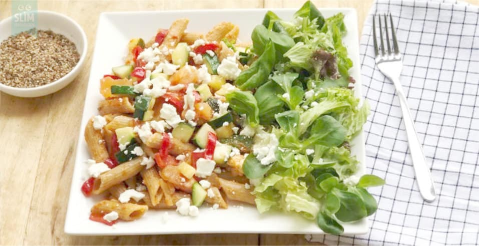 pasta met tomaat, basilicum en feta